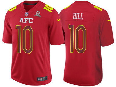 2017 Pro Bowl AFC Kansas City Chiefs 10 Tyreek Hill Red Game Jersey