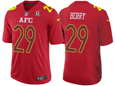 2017 Pro Bowl AFC Kansas City Chiefs 29 Eric Berry Red Game Jersey