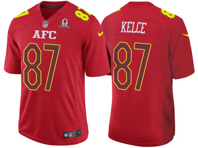 2017 Pro Bowl AFC Kansas City Chiefs 87 Travis Kelce Red Game Jersey
