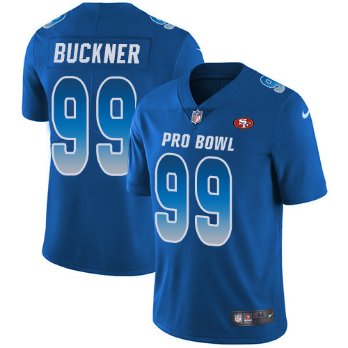 49ers #99 DeForest Buckner Royal Youth Stitched Football Limited NFC 2019 Pro Bowl Jersey