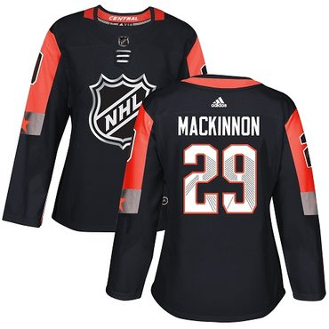 Adidas Avalanche #29 Nathan MacKinnon Black 2018 All-Star Central Division Authentic Women's Stitched NHL Jersey