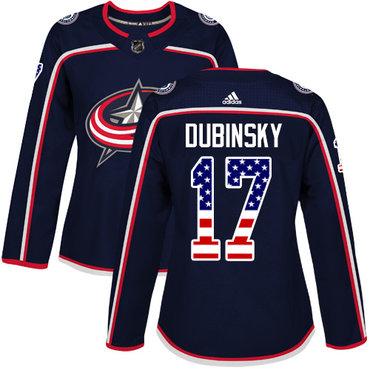 Adidas Blue Jackets #17 Brandon Dubinsky Navy Blue Home Authentic USA Flag Women's Stitched NHL Jersey