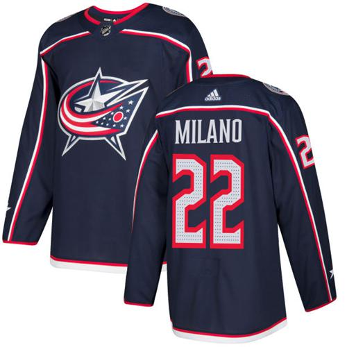 Adidas Blue Jackets #22 Sonny Milano Navy Blue Home Authentic Stitched Youth NHL Jersey