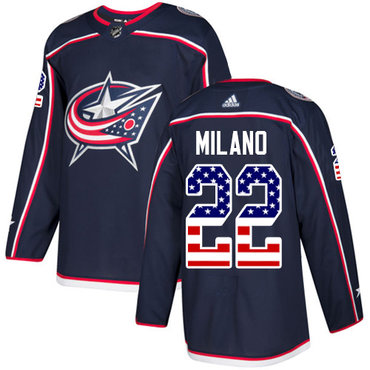 Adidas Blue Jackets #22 Sonny Milano Navy Blue Home Authentic USA Flag Stitched Youth NHL Jersey