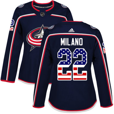 Adidas Blue Jackets #22 Sonny Milano Navy Blue Home Authentic USA Flag Women's Stitched NHL Jersey