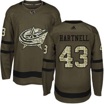 Adidas Blue Jackets #43 Scott Hartnell Green Salute to Service Stitched NHL Jersey