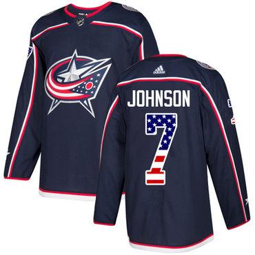 Adidas Blue Jackets #7 Jack Johnson Navy Blue Home Authentic USA Flag Stitched Youth NHL Jersey