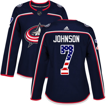 Adidas Blue Jackets #7 Jack Johnson Navy Blue Home Authentic USA Flag Women's Stitched NHL Jersey