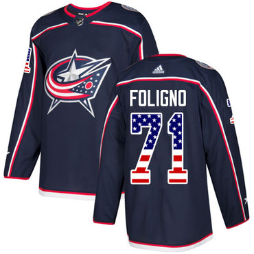 Adidas Blue Jackets #71 Nick Foligno Navy Blue Home Authentic USA Flag Stitched Youth NHL Jersey