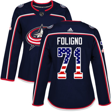 Adidas Blue Jackets #71 Nick Foligno Navy Blue Home Authentic USA Flag Women's Stitched NHL Jersey