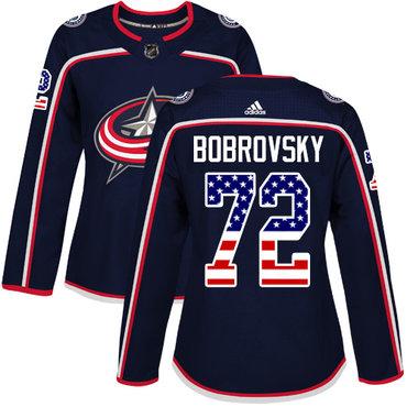 Adidas Blue Jackets #72 Sergei Bobrovsky Navy Blue Home Authentic USA Flag Women's Stitched NHL Jersey