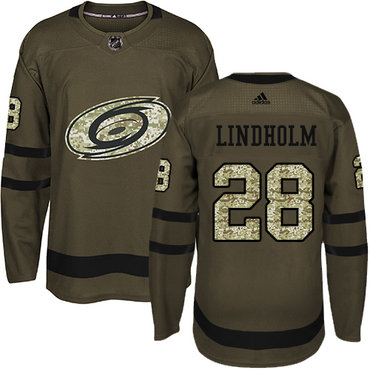 Adidas Hurricanes #28 Elias Lindholm Green Salute to Service Stitched NHL Jersey