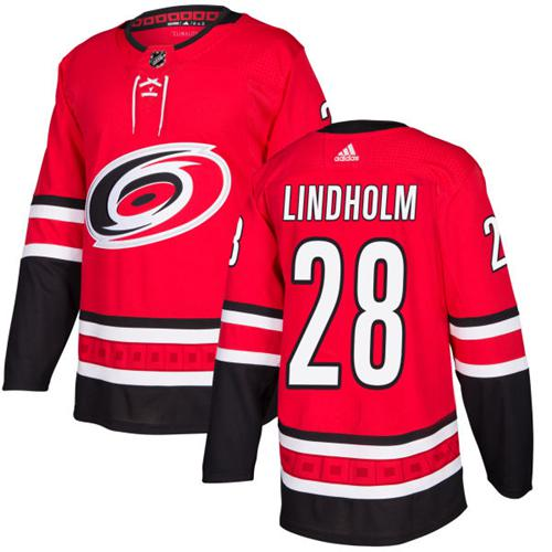 Adidas Hurricanes #28 Elias Lindholm Red Home Authentic Stitched NHL Jersey