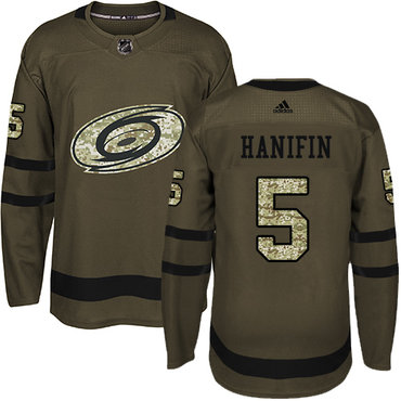 Adidas Hurricanes #5 Noah Hanifin Green Salute to Service Stitched NHL Jersey