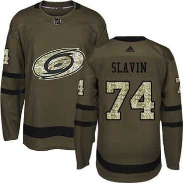 Adidas Hurricanes #74 Jaccob Slavin Green Salute to Service Stitched NHL Jersey