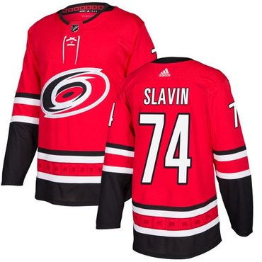 Adidas Hurricanes #74 Jaccob Slavin Red Home Authentic Stitched NHL Jersey