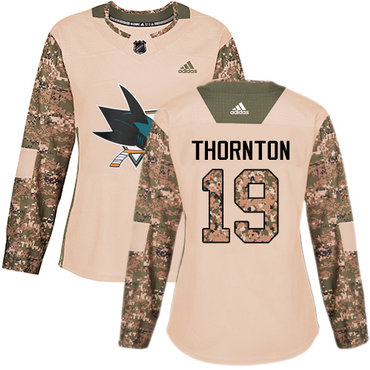 Adidas Sharks #19 Joe Thornton Camo Authentic 2017 Veterans Day Women's Stitched NHL Jersey