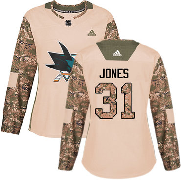 Adidas Sharks #31 Martin Jones Camo Authentic 2017 Veterans Day Women's Stitched NHL Jersey