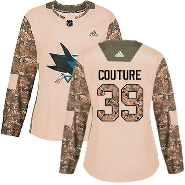 Adidas Sharks #39 Logan Couture Camo Authentic 2017 Veterans Day Women's Stitched NHL Jersey