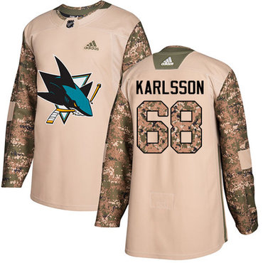 Adidas Sharks #68 Melker Karlsson Camo Authentic 2017 Veterans Day Stitched Youth NHL Jersey