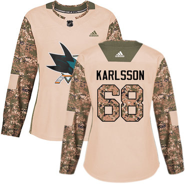 Adidas Sharks #68 Melker Karlsson Camo Authentic 2017 Veterans Day Women's Stitched NHL Jersey