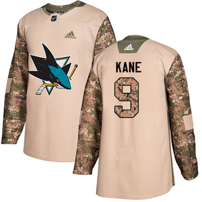 Adidas Sharks #9 Evander Kane Camo Authentic 2017 Veterans Day Stitched Youth NHL Jersey