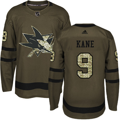 Adidas Sharks #9 Evander Kane Green Salute to Service Stitched Youth NHL Jersey