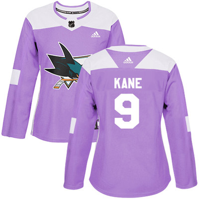 Adidas Sharks #9 Evander Kane Purple Authentic Fights Cancer Women's Stitched NHL Jersey
