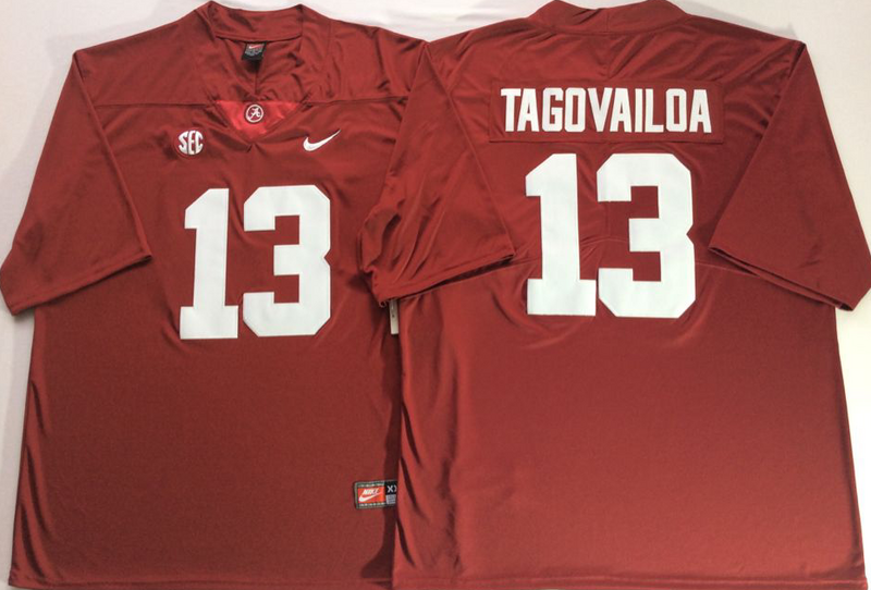 Alabama Crimson Tide 13 Tua Tagovailoa Red Nike College Football Jersey