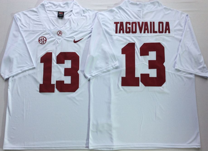 Alabama Crimson Tide 13 Tua Tagovailoa White Nike College Football Jersey