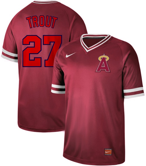 Angels of Anaheim #27 Mike Trout Red Authentic Cooperstown Collection Stitched Baseball Jersey