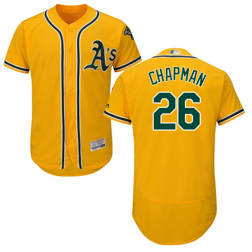 Athletics #26 Matt Chapman Gold Flexbase Authentic Collection Stitched Baseball Jersey