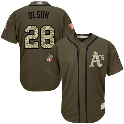 Athletics #28 Matt Olson Green Salute to Service Stitched Baseball Jersey