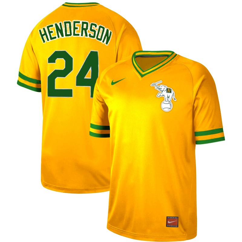 Athletics 24 Rickey Henderson Yellow Throwback Jersey