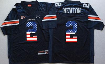 Auburn Tigers 2 Cam Newton Navy USA Flag College Jersey