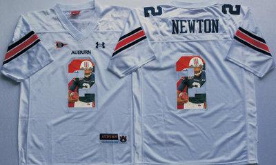 Auburn Tigers 2 Cam Newton White Portrait Number College Jersey