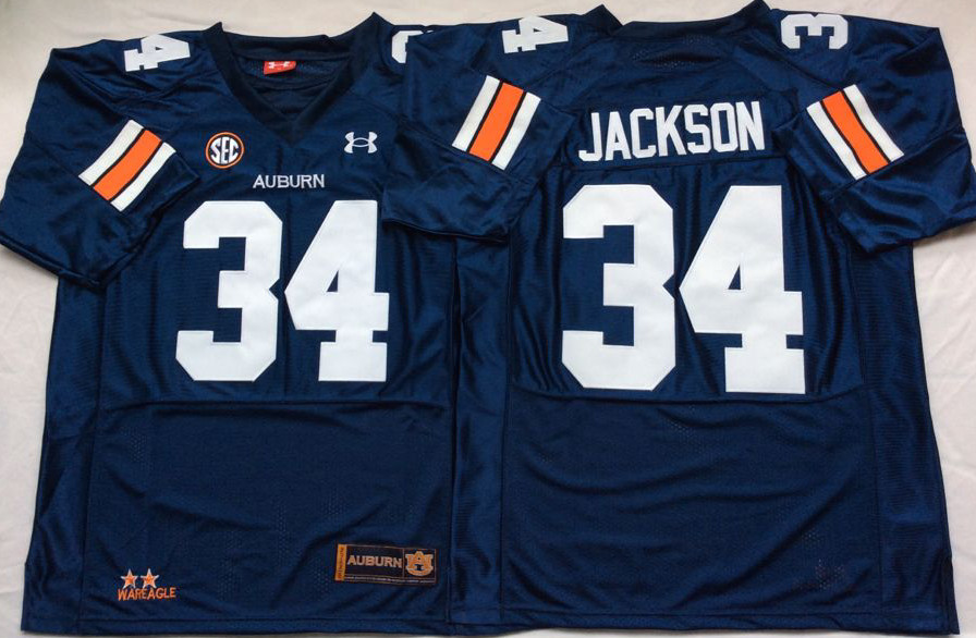 Auburn Tigers 34 Bo Jackson Navy College Football Jersey