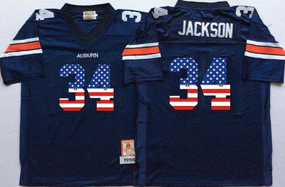 Auburn Tigers 34 Bo Jackson Navy USA Flag College Jersey