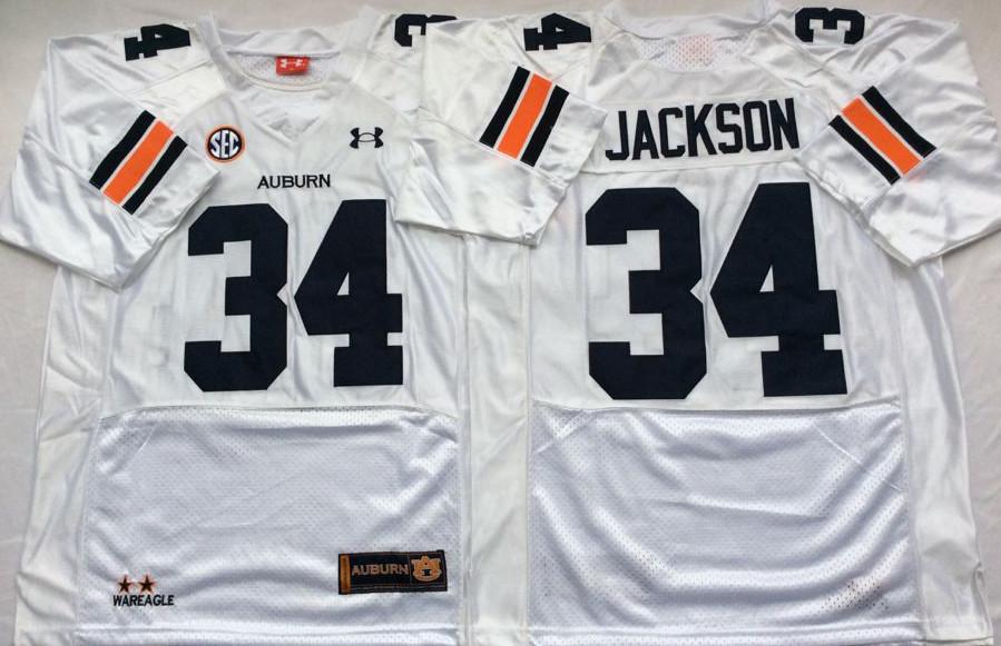 Auburn Tigers 34 Bo Jackson White College Football Jersey