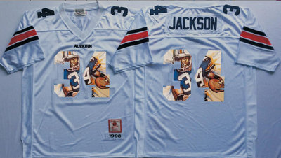 Auburn Tigers 34 Bo Jackson White Portrait Number College Jersey