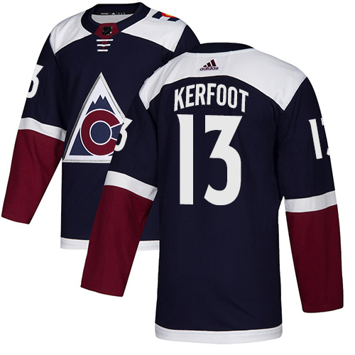 Avalanche #13 Alexander Kerfoot Navy Alternate Authentic Stitched Hockey Jersey