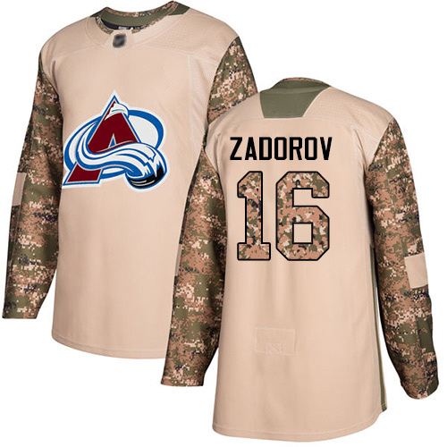 Avalanche #16 Nikita Zadorov Camo Authentic 2017 Veterans Day Stitched Hockey Jersey