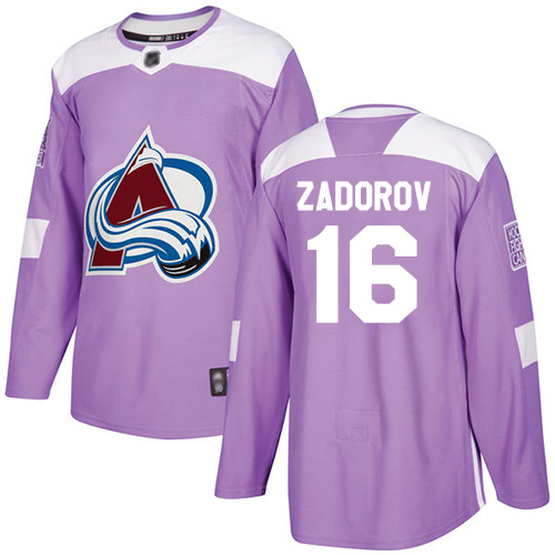 Avalanche #16 Nikita Zadorov Purple Authentic Fights Cancer Stitched Hockey Jersey