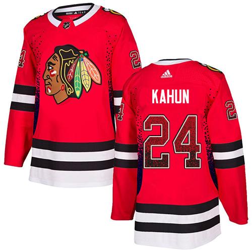 Blackhawks #24 Dominik Kahun Red Home Authentic Drift Fashion Stitched Hockey Jersey
