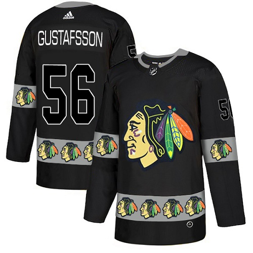 Blackhawks #56 Erik Gustafsson Black Authentic Team Logo Fashion Stitched Hockey Jersey