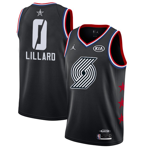 Blazers #0 Damian Lillard Black Basketball Jordan Swingman 2019 All-Star Game Jersey