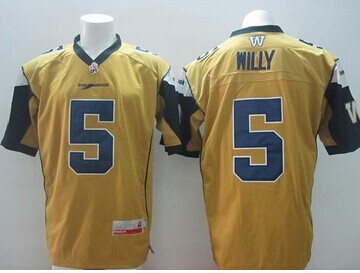 Blue Bombers #5 Drew Willy Gold Stitched CFL Jersey