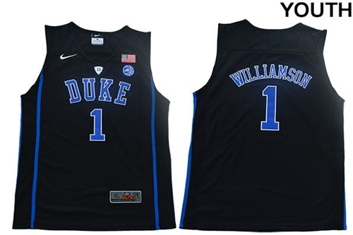 Blue Devils #1 Zion Williamson Black Basketball Elite Stitched Youth College Jersey