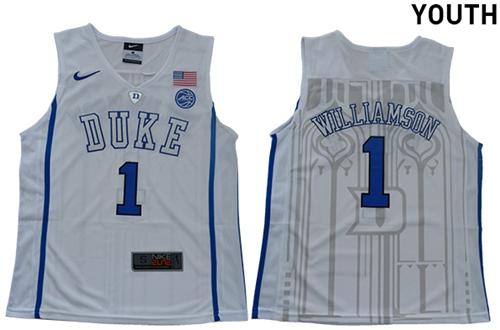 Blue Devils #1 Zion Williamson White Basketball Elite Stitched Youth College Jersey