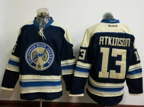 Blue Jackets #13 Cam Atkinson Navy Blue Alternate Stitched NHL Jersey